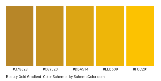 Beauty Gold Gradient - Color scheme palette thumbnail - #b78628 #c69320 #dba514 #eeb609 #fcc201