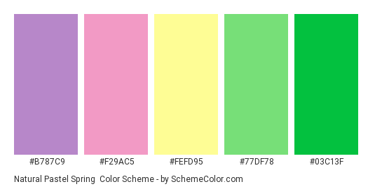 Natural Pastel Spring - Color scheme palette thumbnail - #b787c9 #f29ac5 #fefd95 #77df78 #03c13f