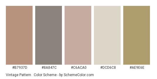 Vintage Pattern #1 - Color scheme palette thumbnail - #b7937d #8a847c #c6aca0 #dcd6c8 #ae9e6e