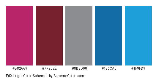 EdX Logo - Color scheme palette thumbnail - #b82669 #77202e #8b8d90 #136ca5 #1f9fd9