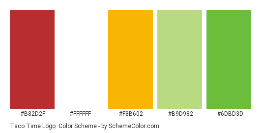 Taco Time Logo - Color scheme palette thumbnail - #b82d2f #ffffff #f8b602 #b9d982 #6dbd3d