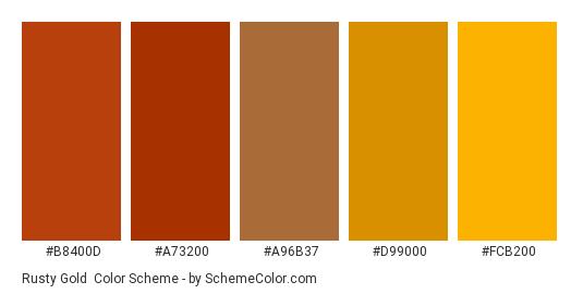 Rusty Gold - Color scheme palette thumbnail - #b8400d #a73200 #a96b37 #d99000 #fcb200