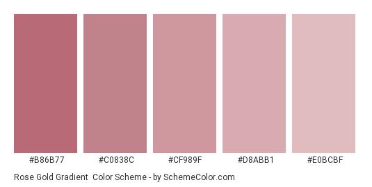 Rose Gold Gradient - Color scheme palette thumbnail - #b86b77 #c0838c #cf989f #d8abb1 #e0bcbf