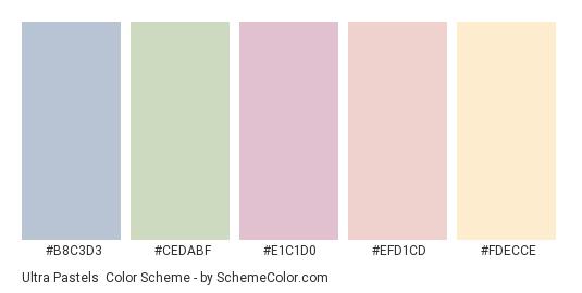 Ultra Pastels - Color scheme palette thumbnail - #b8c3d3 #cedabf #e1c1d0 #efd1cd #fdecce