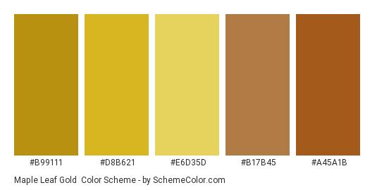 Maple Leaf Gold - Color scheme palette thumbnail - #b99111 #d8b621 #e6d35d #b17b45 #a45a1b