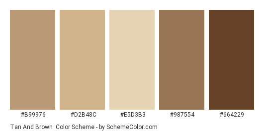 Tan And Brown Color Scheme Palette Thumbnail B99976 D2b48c E5d3b3