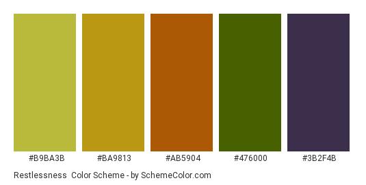 Restlessness - Color scheme palette thumbnail - #b9ba3b #ba9813 #ab5904 #476000 #3b2f4b