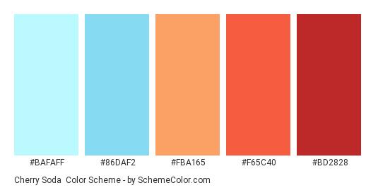 Cherry Soda - Color scheme palette thumbnail - #bafaff #86daf2 #fba165 #f65c40 #bd2828