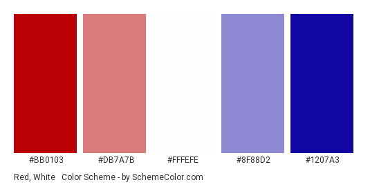 Red, White & Blue Gradient - Color scheme palette thumbnail - #bb0103 #db7a7b #fffefe #8f88d2 #1207a3