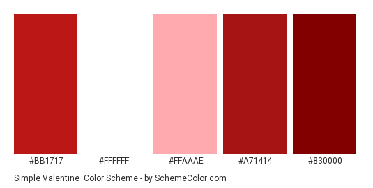 Simple Valentine - Color scheme palette thumbnail - #bb1717 #ffffff #ffaaae #a71414 #830000