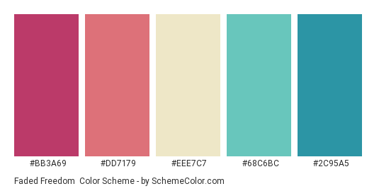 Faded Freedom - Color scheme palette thumbnail - #bb3a69 #dd7179 #eee7c7 #68c6bc #2c95a5