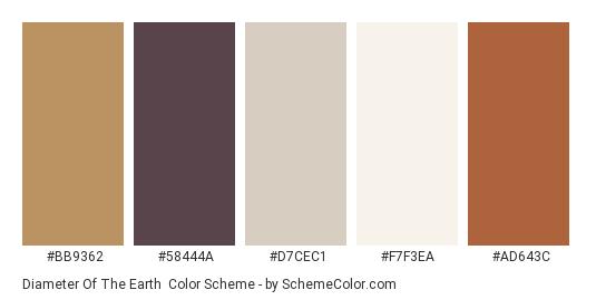 Diameter of the Earth - Color scheme palette thumbnail - #bb9362 #58444a #d7cec1 #f7f3ea #ad643c