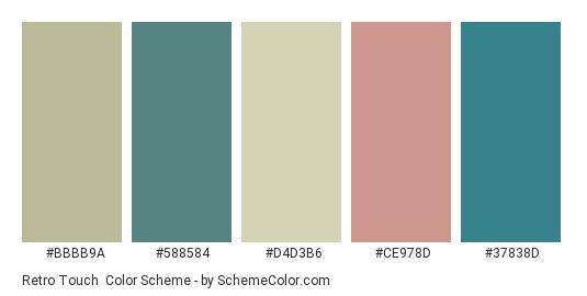 Retro Touch - Color scheme palette thumbnail - #bbbb9a #588584 #d4d3b6 #ce978d #37838d
