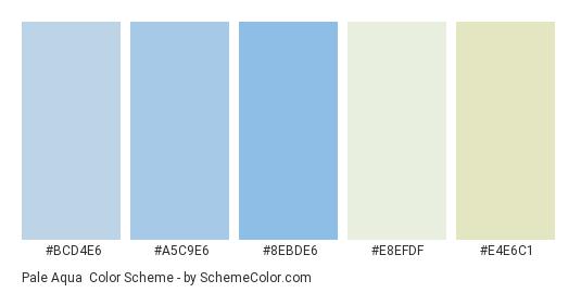 Pale Aqua - Color scheme palette thumbnail - #bcd4e6 #a5c9e6 #8ebde6 #e8efdf #e4e6c1
