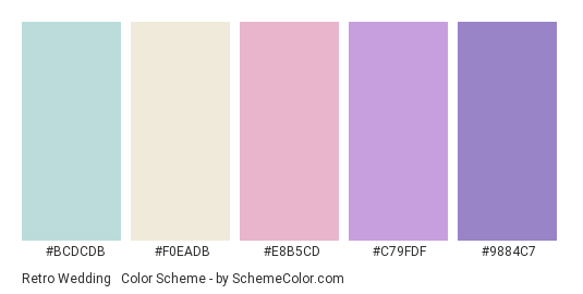 Retro Wedding #2 - Color scheme palette thumbnail - #bcdcdb #f0eadb #e8b5cd #c79fdf #9884c7