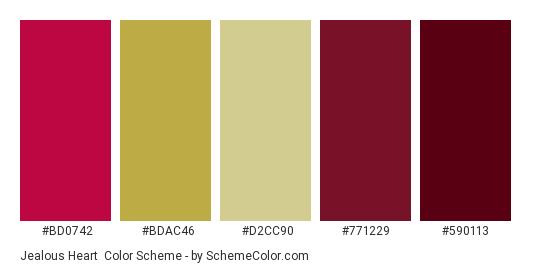 Jealous Heart - Color scheme palette thumbnail - #bd0742 #bdac46 #d2cc90 #771229 #590113