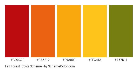 Fall Forest - Color scheme palette thumbnail - #bd0c0f #ea6212 #f9a80e #ffc41a #767d11