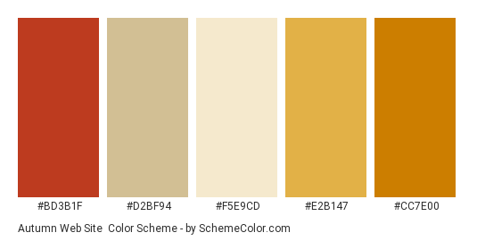 Autumn Web Site - Color scheme palette thumbnail - #bd3b1f #d2bf94 #f5e9cd #e2b147 #cc7e00
