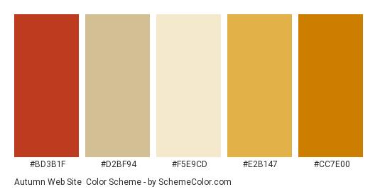 Autumn Web Site - Color scheme palette thumbnail - #bd3b1f #d2bf94 #f5e9cd #e2b147 #cc7e00