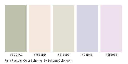 Fairy Pastels - Color scheme palette thumbnail - #bdc1ac #f5e9dd #e1e0d3 #d3d4e1 #efe0ee