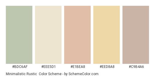Minimalistic Rustic - Color scheme palette thumbnail - #bdc6af #eee5d1 #e1bea8 #eed8a8 #c9b4a6