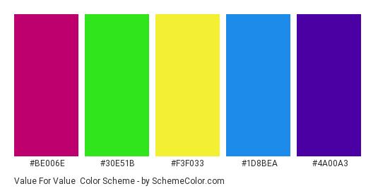 Value for Value - Color scheme palette thumbnail - #be006e #30e51b #f3f033 #1d8bea #4a00a3