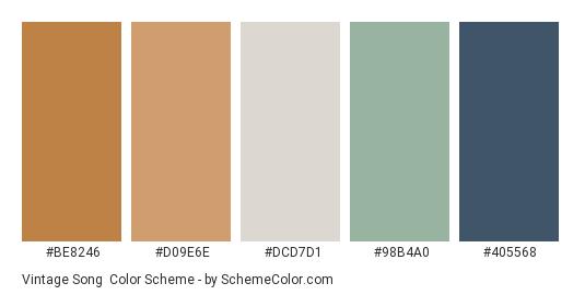 Vintage Song - Color scheme palette thumbnail - #be8246 #d09e6e #dcd7d1 #98b4a0 #405568