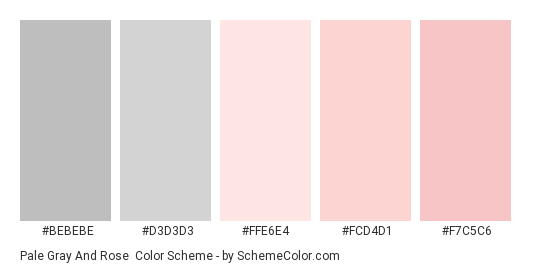 Pale Gray and Rose - Color scheme palette thumbnail - #bebebe #d3d3d3 #ffe6e4 #fcd4d1 #f7c5c6