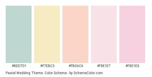 Pastel Wedding Theme - Color scheme palette thumbnail - #bed7d1 #f7ebc3 #fbd6c6 #f8e1e7 #f8d1e0