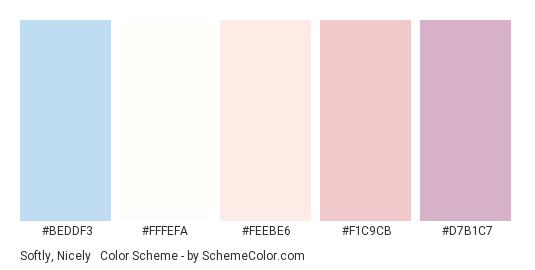 Softly, Nicely & Calmly - Color scheme palette thumbnail - #beddf3 #fffefa #feebe6 #f1c9cb #d7b1c7
