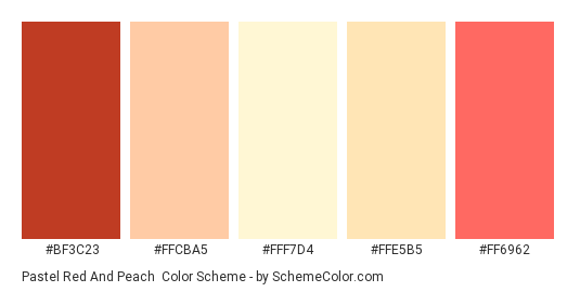 Pastel Red and Peach - Color scheme palette thumbnail - #bf3c23 #ffcba5 #fff7d4 #ffe5b5 #ff6962