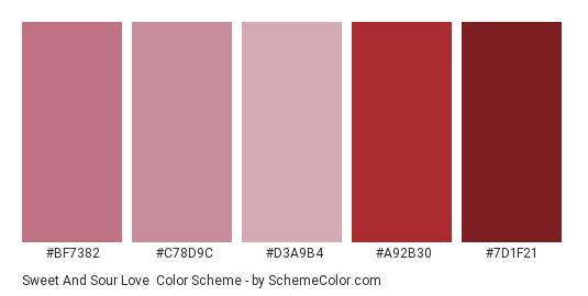 Sweet and Sour Love - Color scheme palette thumbnail - #bf7382 #c78d9c #d3a9b4 #a92b30 #7d1f21