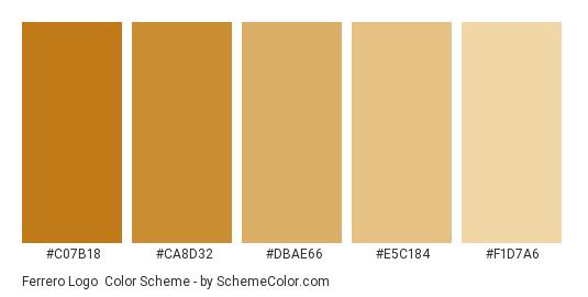 Ferrero Logo - Color scheme palette thumbnail - #c07b18 #ca8d32 #dbae66 #e5c184 #f1d7a6