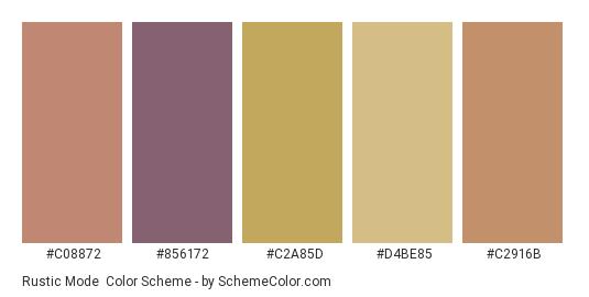 Rustic Mode - Color scheme palette thumbnail - #c08872 #856172 #c2a85d #d4be85 #c2916b