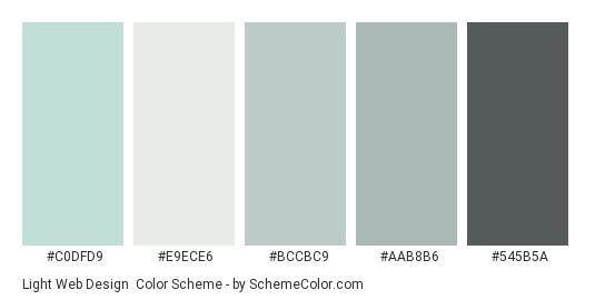Light Web Design - Color scheme palette thumbnail - #c0dfd9 #e9ece6 #bccbc9 #aab8b6 #545b5a