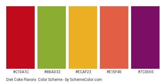 Diet Coke Flavors - Color scheme palette thumbnail - #c10a1c #8bad32 #ecaf23 #e15f45 #7c0e65