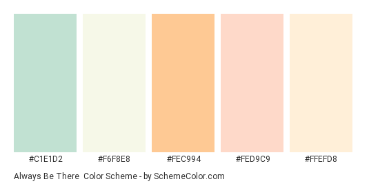 Always Be There - Color scheme palette thumbnail - #c1e1d2 #f6f8e8 #fec994 #fed9c9 #ffefd8