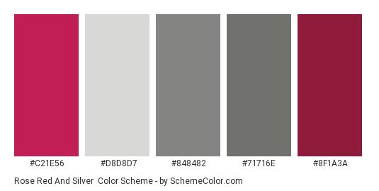 Rose Red and Silver - Color scheme palette thumbnail - #c21e56 #d8d8d7 #848482 #71716e #8f1a3a