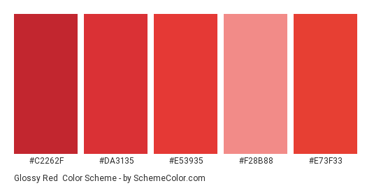 Glossy Red - Color scheme palette thumbnail - #c2262f #da3135 #e53935 #f28b88 #e73f33