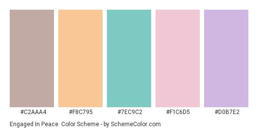 Engaged in Peace - Color scheme palette thumbnail - #c2aaa4 #f8c795 #7ec9c2 #f1c6d5 #d0b7e2