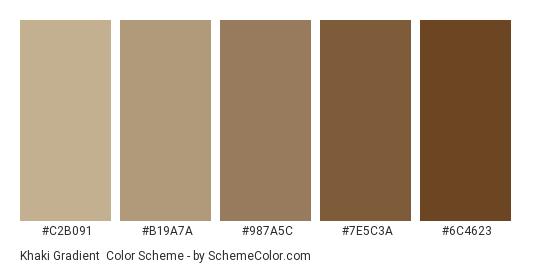 Khaki Gradient - Color scheme palette thumbnail - #c2b091 #b19a7a #987a5c #7e5c3a #6c4623