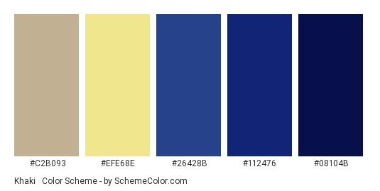 Khaki & Dark Blue - Color scheme palette thumbnail - #c2b093 #efe68e #26428b #112476 #08104b