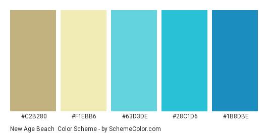 New Age Beach - Color scheme palette thumbnail - #c2b280 #f1ebb6 #63d3de #28c1d6 #1b8dbe