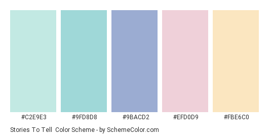 Stories to Tell - Color scheme palette thumbnail - #c2e9e3 #9fd8d8 #9bacd2 #efd0d9 #fbe6c0