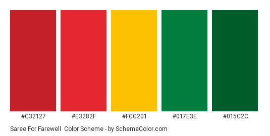Saree For Farewell - Color scheme palette thumbnail - #c32127 #e3282f #fcc201 #017e3e #015c2c