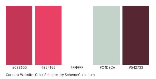 Cardsox Website - Color scheme palette thumbnail - #c33655 #e94166 #ffffff #c4d3ca #542733