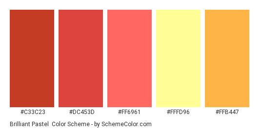 Brilliant Pastel - Color scheme palette thumbnail - #c33c23 #dc453d #ff6961 #fffd96 #ffb447