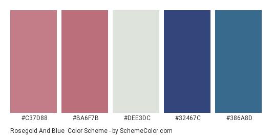 Rosegold and Blue - Color scheme palette thumbnail - #c37d88 #ba6f7b #dee3dc #32467c #386a8d