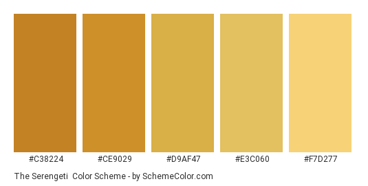 The Serengeti - Color scheme palette thumbnail - #c38224 #ce9029 #d9af47 #e3c060 #f7d277