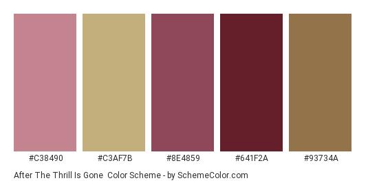 After the Thrill is Gone - Color scheme palette thumbnail - #c38490 #c3af7b #8e4859 #641f2a #93734a